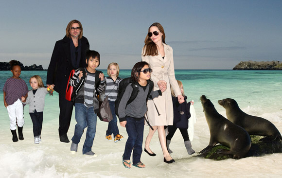 Brad-Pitt-Angelina-Jolie-and-children-in-Galapagos-