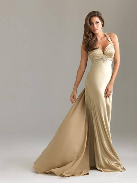 bridal colored prom dress