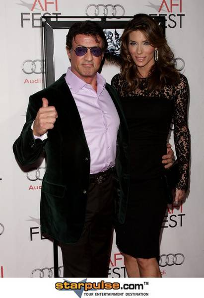 Actor Sylvester Stallone and wife Jennifer Flavin with their Daughters Soph