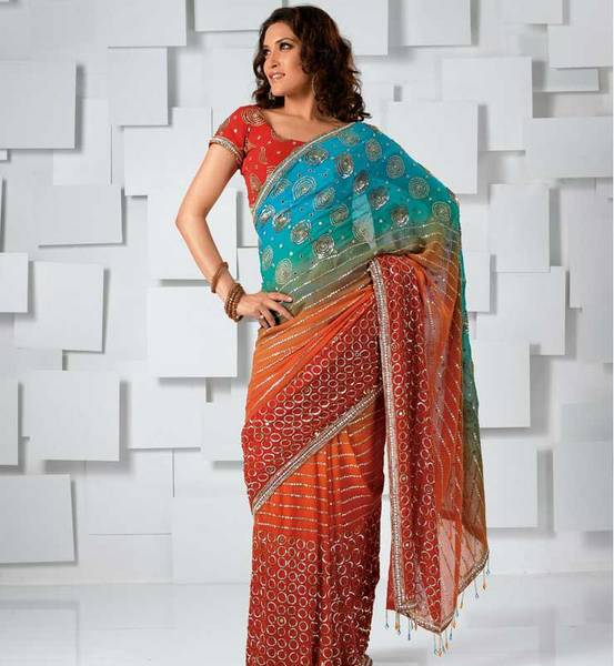 Multishaded  Saree