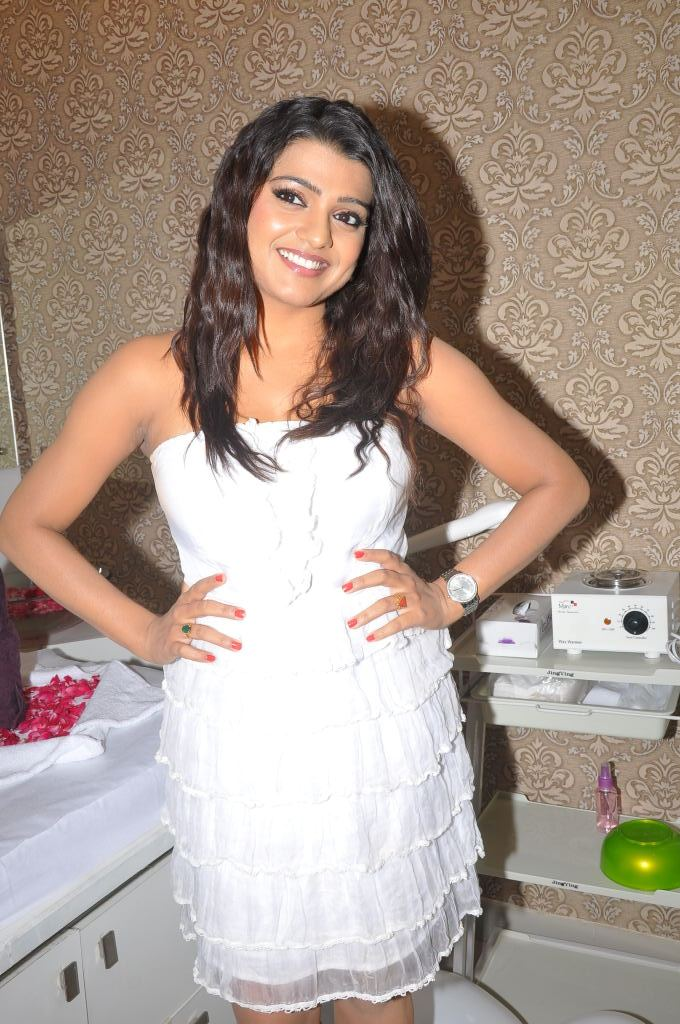 Actress Tashu Kaushik Sexy Stills in White Mini Skirt