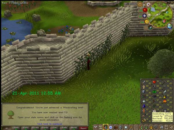 RuneScape Woodcutting level 72