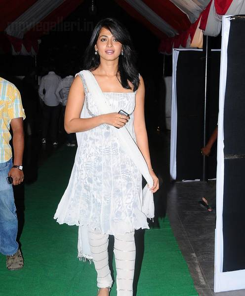 Actress in cute white dress
