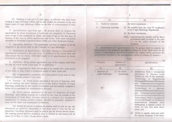 Kerala Legal Metrology Subordinate service Special rules, 2013